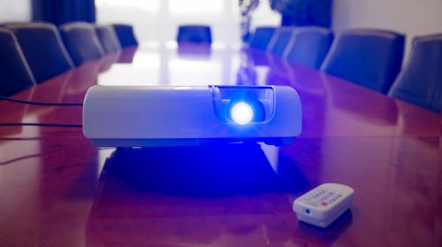 Projector on a Conference Table